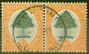 Afrique-Du-Sud-1932-6d-Vert-amp-Orange-SG47w-Wmk-Vertical-V-F-U