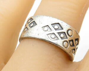 925-Sterling-Silver-Vintage-Artistic-Geometric-Decor-Band-Ring-Sz-8-R5940