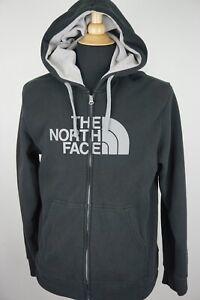 The-North-Face-BIG-LOGO-Hooded-Black-Gray-Full-Zip-Up-Sweat-Shirt-Sz-M