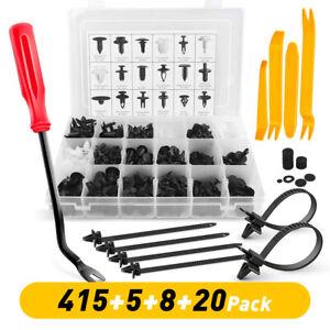 448PCS Plastic Rivets Fastener Push Clips Black for Car Auto Fender & Metal Tool