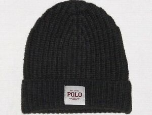 cf5e9bcdcd7 Image is loading POLO-RALPH-LAUREN-Mens-Ribbed-Merino-Wool-Beanie-
