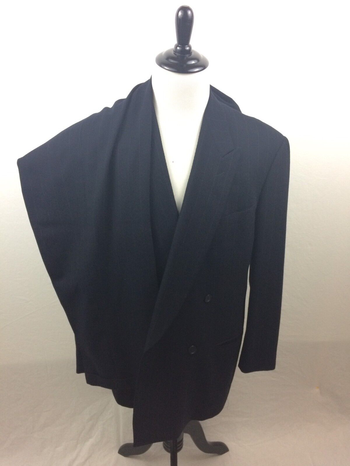 2 PC Giorgio Armani Suit Saks Fifth Ave 44L Double Breasted Navy  44 Long