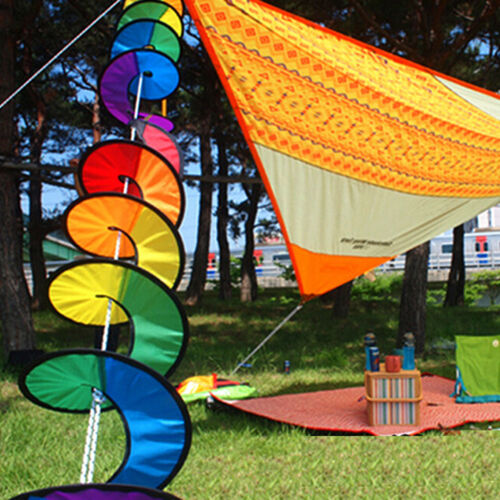 Foldable Rainbows Spirals Windmill Wind Spinners Camping Tent Home Garden DecorY