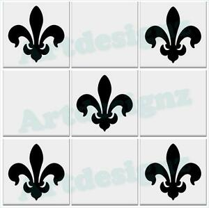 Fleur De Lis Lys Tile Stickers Kitchen Bathroom Vinyl Wall Art Car