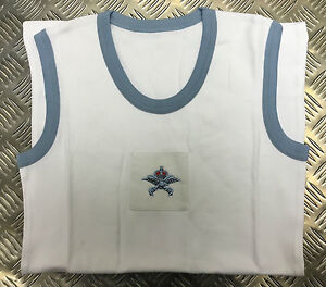 Genuine-Royal-Air-Force-RAF-PTI-White-Vest-With-Blue-Trim-All-Sizes-New