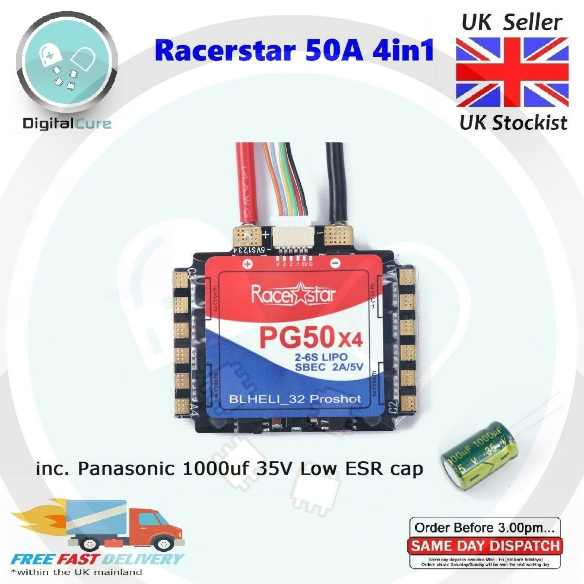 Racerstar PG50x4 50A ESC 4in1 Blheli_32 16.5 2-6S 32bit ProShot 5V BEC - 30A 20A