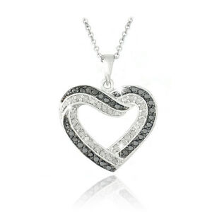 0.50ct TDW Black & White Diamond Open Heart Necklace in Brass