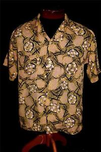 VERY-RARE-COLLECTIBLE-VINTAGE-1950-039-S-SILKY-RAYON-PRINTED-SHIRT-SIZE-SMALL