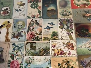 Nice-Lot-of-25-Antique-Greetings-Postcards-with-BIRDS-Bird-in-sleeves-a770
