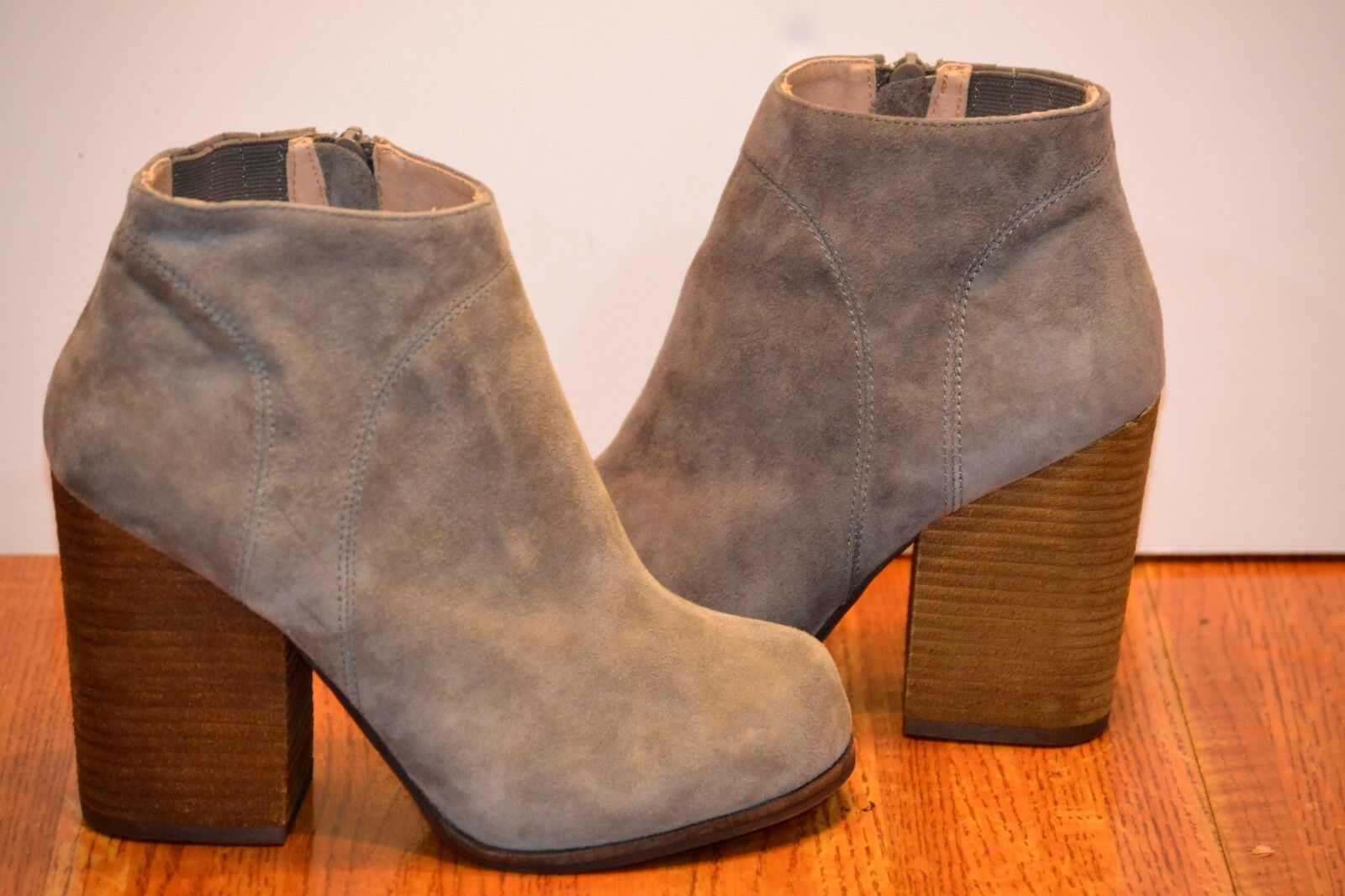JEFFREY CAMPBELL HANGER BOOTIES 7.5 Gray Suede Ankle Boots Chunky Heel Shoes