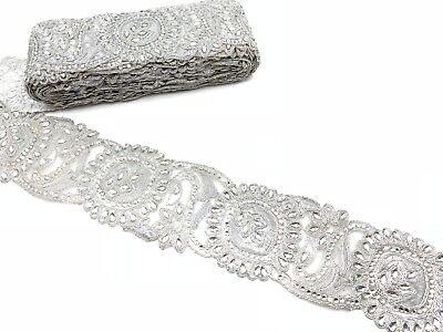 argent métallisé Tear Drop Pierre Mariage Bordure En Dentelle Ruban Bordure Garniture environ 0.91 m 1 Yd