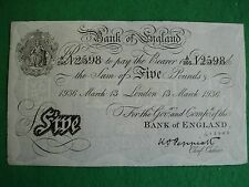 Operation Bernhard WWII white £5 fiver note 13th March 1936 crisp unc FREEPOST