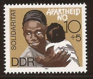 REPUBBLICA Democratica Tedesca DDR Germania Est 1987 anti apartheid Gomma integra, non linguellato Nuovo di zecca SET TIMBRI COMUNISTA