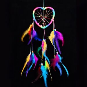 Dream-Catcher-Heart-Colorful-Handmade-Wall-Hanging-Decor-Ornament-Feathers-Gift