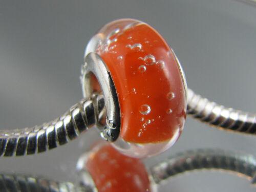 925 Silver Hallmarked Striped Murano Glass European Bead
