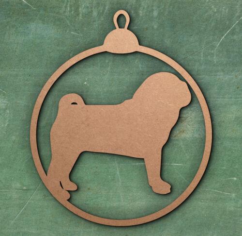 Pug Christmas Tree Bauble Christmas Decoration. Gift Tag Birthday Tag Dog