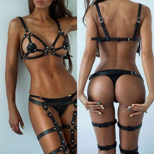 Women Sexy Handmade Leather Harness Garter Belt Bandage Bra Leg Thigh Suspenders