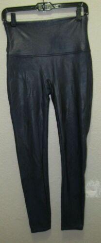 Spanx Blue Metallic Faux Leather Liquid Leggings S