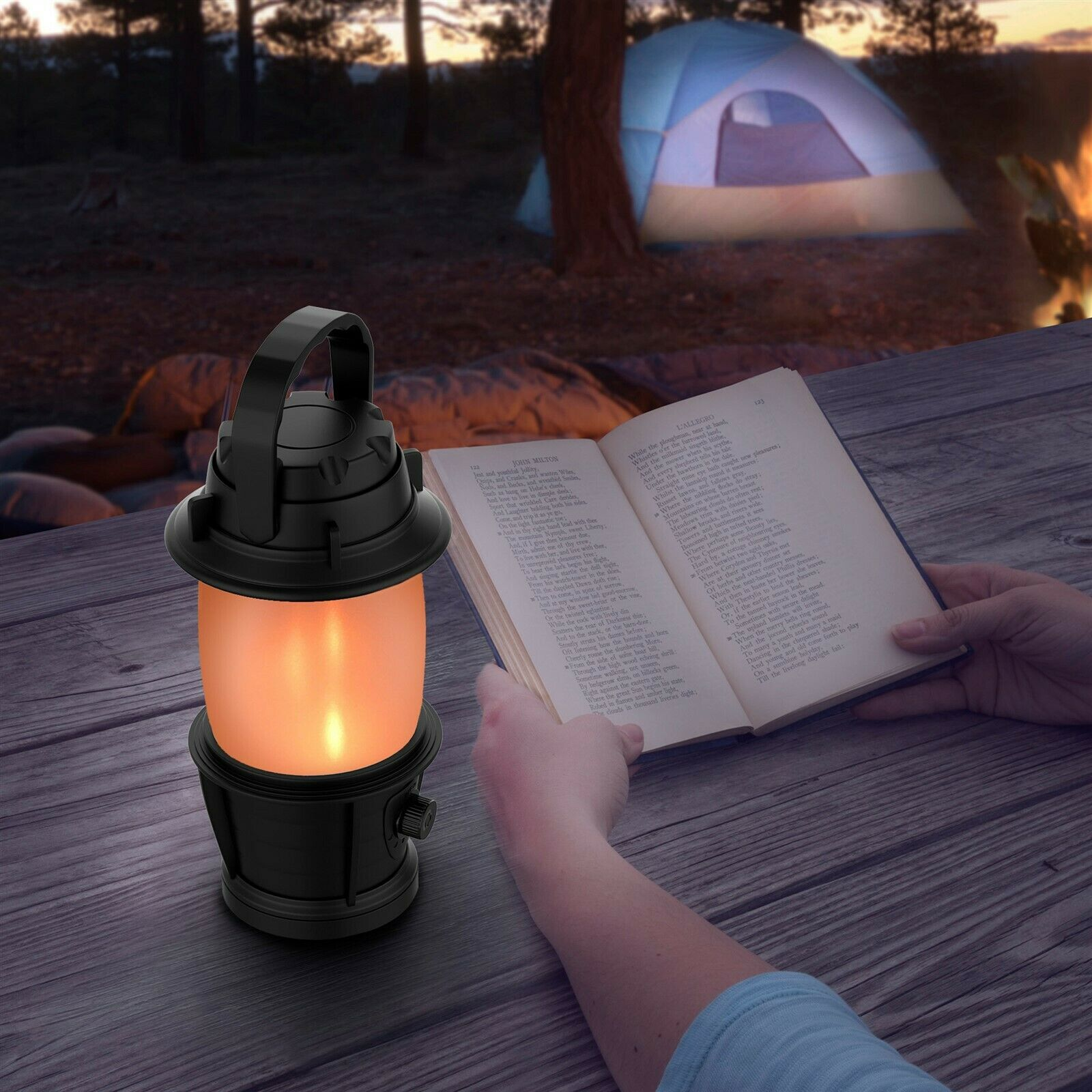 Aaa Battery Flickering 3 Light Lantern Torch Effect Led Operated Flame Camping NnOkXw8P0