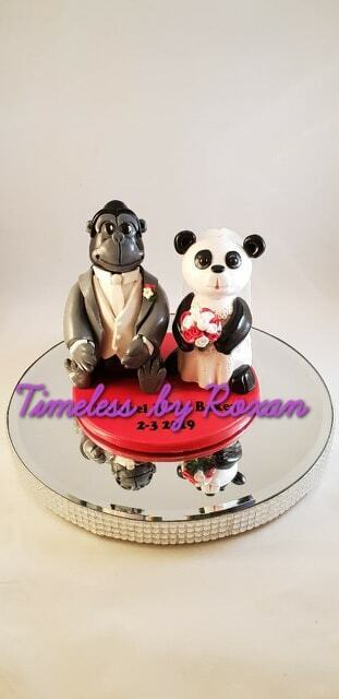 Novelty Clay Pets Groom And Bride Topper Cake Wedding