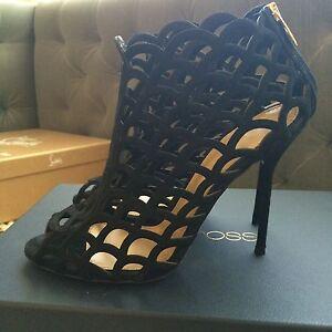 NIB Sergio Rossi Black Suede /& Mesh Cage PuzzleAnkle Boots 36 37 38 retail $1180