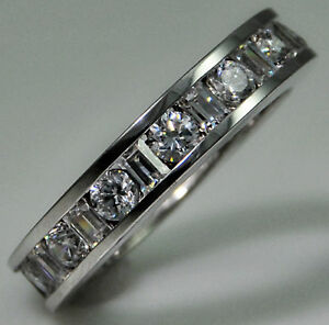 1 ct Channel Set Band Imitation Top CZ Moissanite Simulant Solid SS Size 5