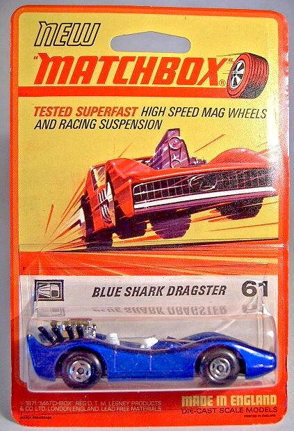 Matchbox No.61B bluee Shark mint on rare 1972 blistercard