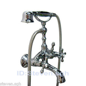 Chrome Bathroom Clawfoot Bathtub Faucet Mixer Tap With Handheld Shower 5663A