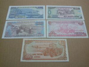 vietnam set 5 pcs banknote unc