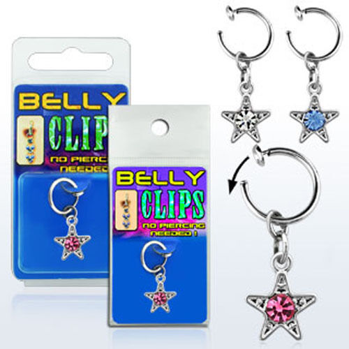 Clip On Navel Fake Illusion Clips Belly Button Jewelry No Piercing Star Dangling