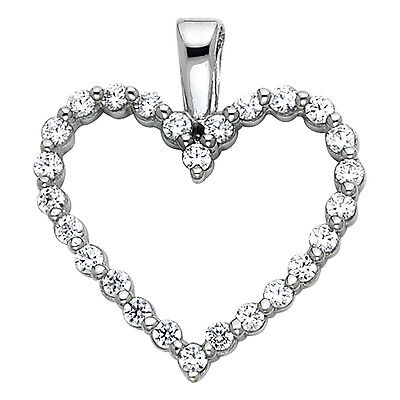 "14K Solid White Gold 0.25ct Diamond Pave Love Heart Pendant Charm 5//8/"" 0.8 grams"