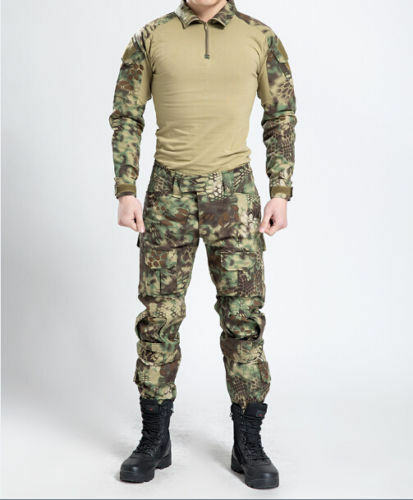 Military Camouflage Tactical Combat Frog Suit Shirt Pants Uniform Knee Elbow Pad