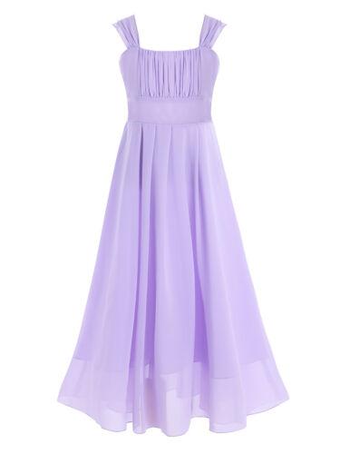 Girls Chiffon Junior Bridesmaid Dress Long Wedding Gown Dance Ball Maxi Dresses