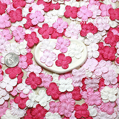 100 Pink Hydrangea Scrapbook Craft Mulberry Paper Flower Wedding Card Artificial