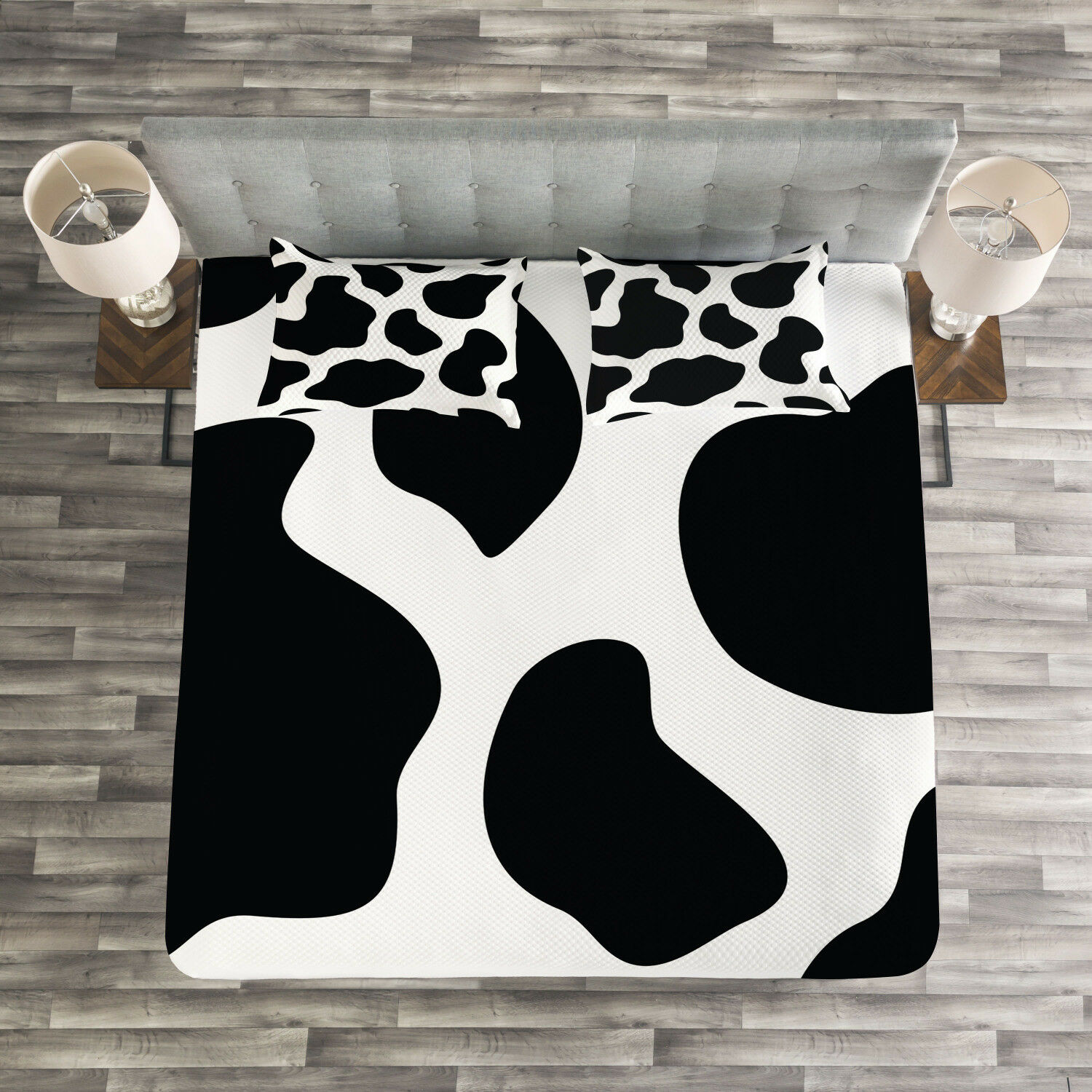 Cow Print Quilted Bedspread & Pillow Shams Set, White Cow Hide Barn Print
