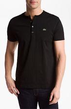 Lacoste Authentic Men's SS Pima Cotton Henley T-Shirt, Black, 4/S, NWT