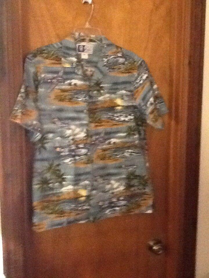 RJC Hawaiian Vintage Shirt bluee With Palm Trees And Sea Plane  Medium