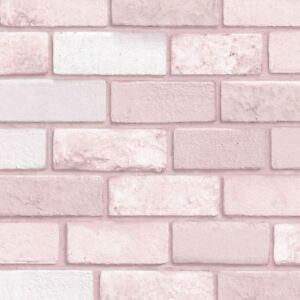 Diamante Papel Pintado Ladrillo Rosa Arthouse 260005 Con Purpurina