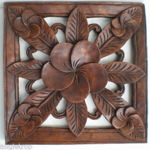 Image Is Loading FRANGIPANI FLOWER HARD WOOD CARVED WALL ART HANGING