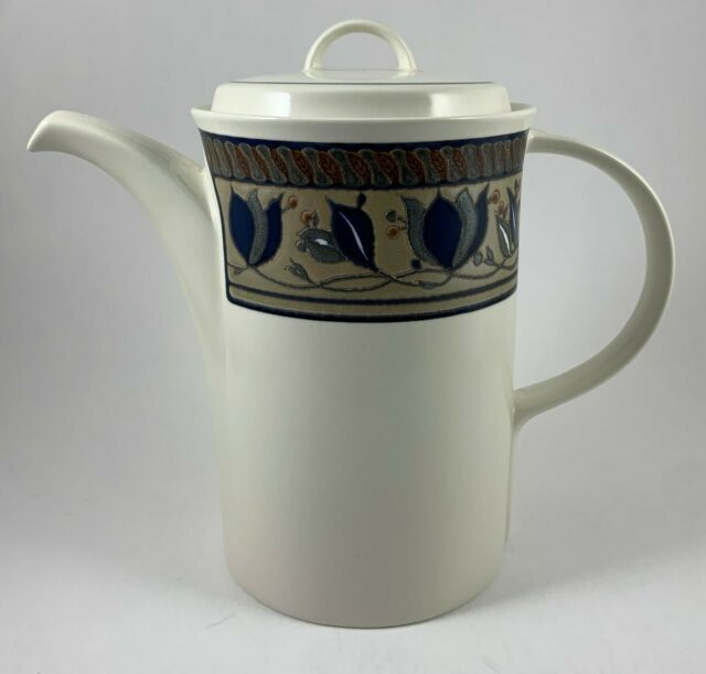 Mikasa Intaglio Arabella 5 Cup Blue Floral Tall Coffee/Tea Pot & Lid