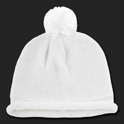 0bf51b527aa White Solid Roll Up Beanie Pom Pom Warm Winter Ski Hat Cap Skull Knit  Beanies