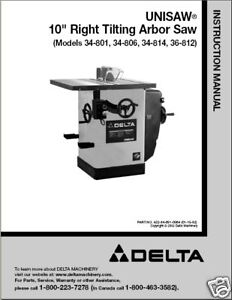delta table saw instruction manual 34 806 808 812 814 ebay rh ebay com Delta Table Saw 36 650 Delta Table Saw 36 650