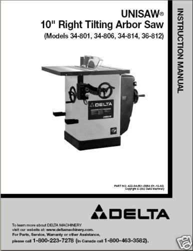 Delta Table Saw Instruction Manual 34-806 808 812 814