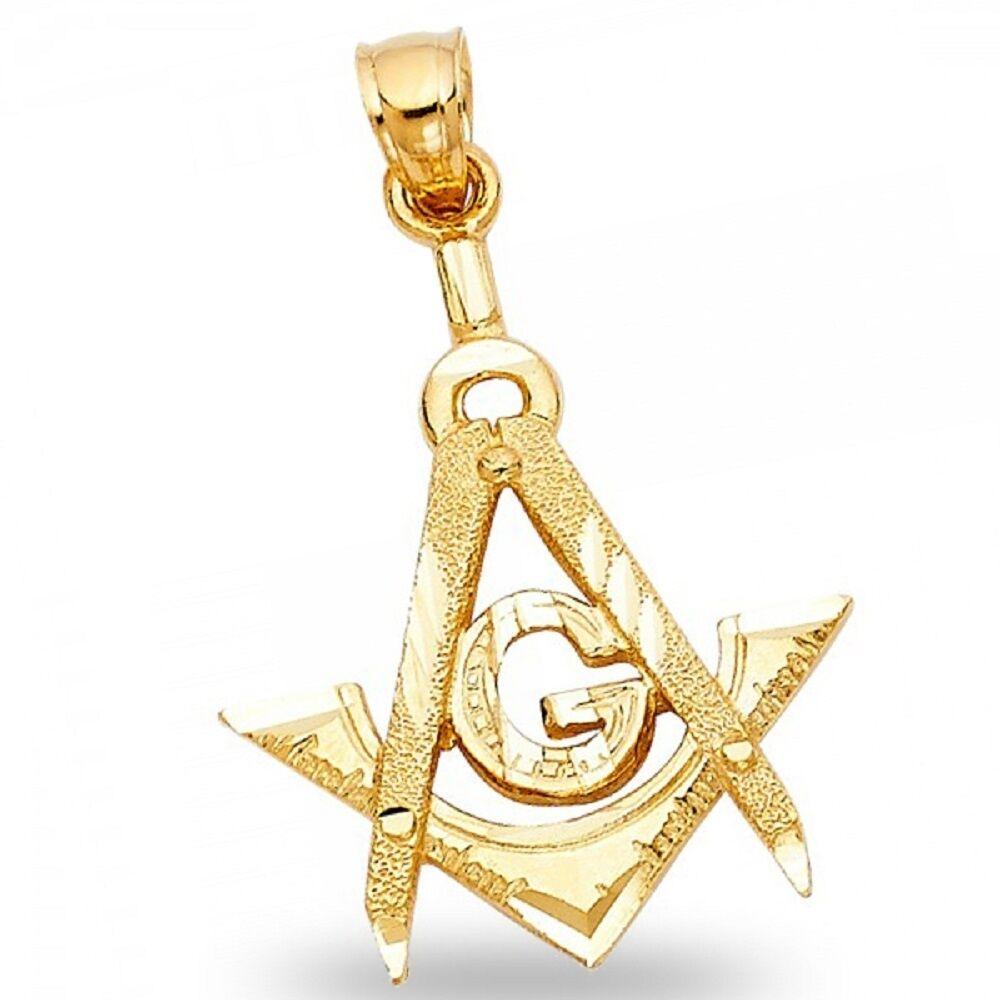 Freemason Masonic Pendant Solid 14k Yellow gold Past Master Charm Diamond Cut
