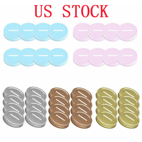 8 Rust Resistant Stainless Steel Metal Coin Slot Bank Lid Inserts for Mason Jars