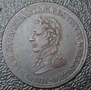 1812-WELLINGTON-PENINSULAR-HALF-PENNY-TOKEN-To-Madrid-COPPER-Br-987-WE-11B