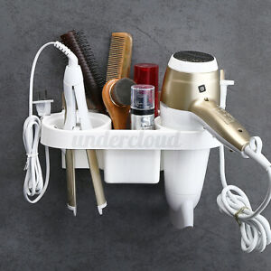 Hair-Dryer-Rack-Storage-Organizer-Comb-Holder-Hanger-Bathroom-Wall-Mounted-Shelf