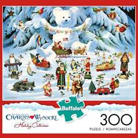 BUFFALO GAMES PUZZLE JINGLE BELL TEDDY & FRIENDS CHARLES WYSOCKI 300 PCS #2626
