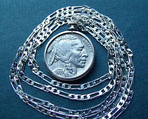 Classic-American-1937-Philly-Buffalo-Nickel-on-28-034-925-ITALIAN-Silver-Chain