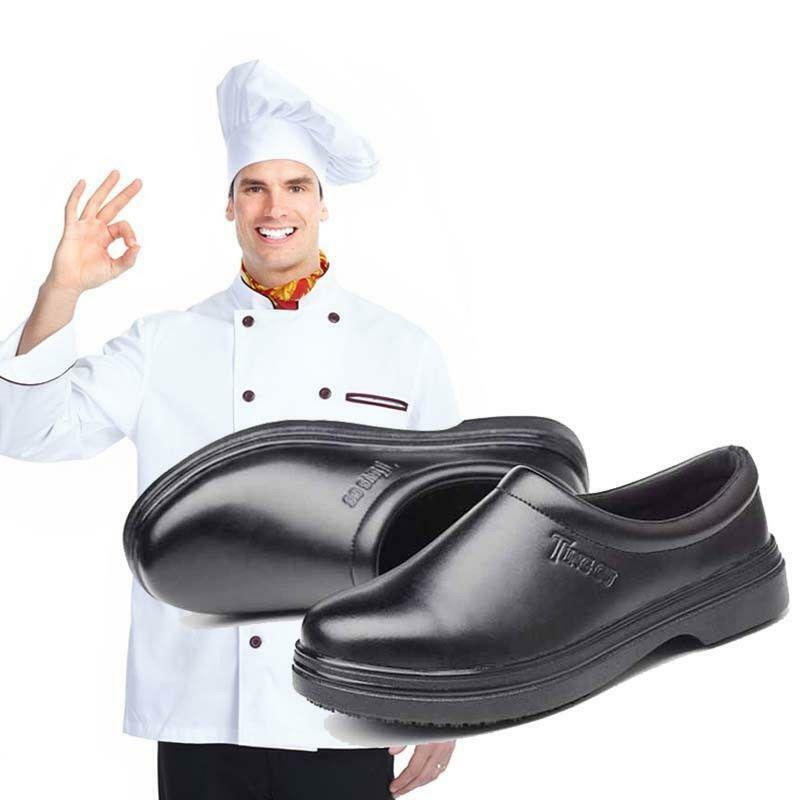 Mens Leather Safety Slip On Work shoes Chef Cooking Kitchen Waterproof Non-Slip